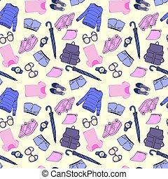 moda, modello, accessori, mano, vettore, disegnato, vestiti