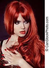 moda, nails., riccio, hair., isolato, capelli lunghi, fondo., nero, manicured, ritratto, ragazza, rosso