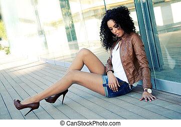 moda, nero, modello, giovane, ritratto, donna