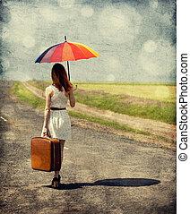 moda, ombrello, primavera, outdoor., giovane, fondo., bokeh, retro, valigia, ragazza, foto