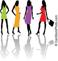 moda, ragazze, illustratio