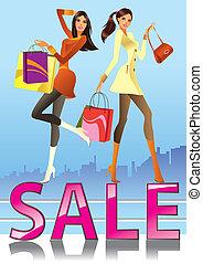 moda, ragazze, vendita, campagna