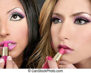 moda, rossetto, bambola, trucco, ragazze, 1980s, retro, barbie