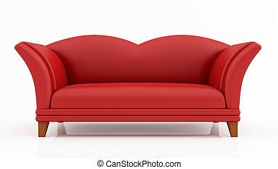 moda, rosso, divano