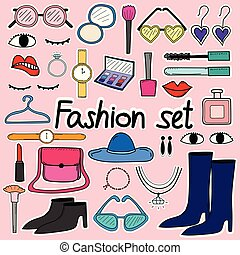 moda, scarabocchiare, set., mano, vettore, disegnato, linea