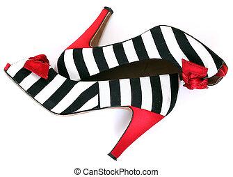 moda, shoes., pattern., donne, zebra, tallone, rosso
