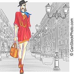 moda, st., vettore, attraente, va, ragazza, petersburg