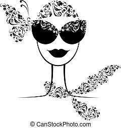 moda, tuo, femmina, disegno, occhiali da sole, silhouette