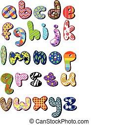 modellato, caso, più basso, alfabeto