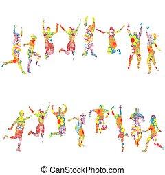 modellato, colorito, persone, silhouette, saltare, floreale
