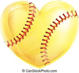 modellato, cuore, softball
