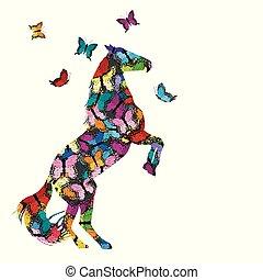 modellato, farfalle, cavallo, illustrazione, colorito