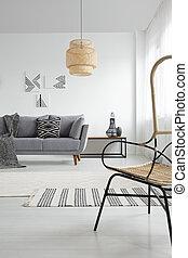modellato, reale, appartamento, foto, coperta, grigio, lampada, spazioso, couch., interno, bianco