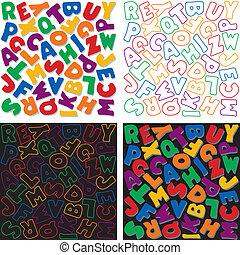 modelli, alfabeto, fondo, disegno