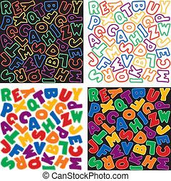 modelli, alfabeto, fondo, neon