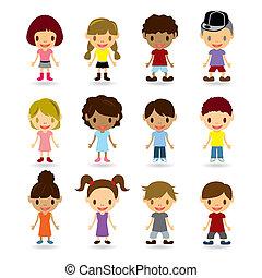 modelli, bambini, set