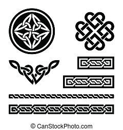modelli, celtico, nodi, trecce