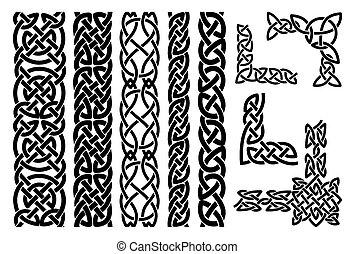 modelli, celtico, ornamento, angoli