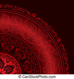 modelli, decorativo, vendemmia, rosso, cornice, rotondo