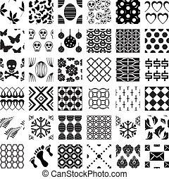 modelli, geometrico, seamless, set, monocromatico