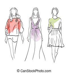 modelli, set, moda