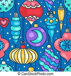 modello, albero, seamless, cartone animato, decorazioni, natale