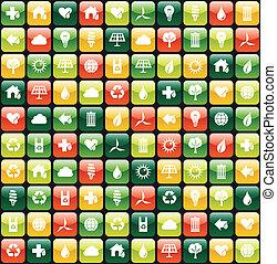modello, app, ambiente, sfondo verde, icona