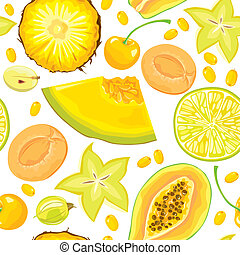 modello, bacche, seamless, giallo, frutte