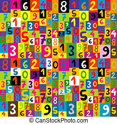 modello, bambini, seamless, numeri