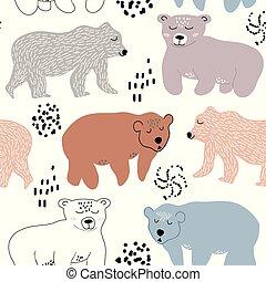 modello, bears., tessuto, seamless, illustrazione, carino, vivaio, vettore, decorazione, tessile