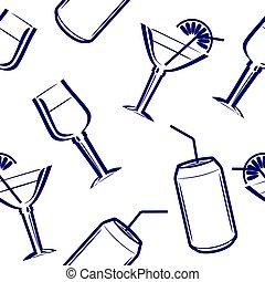 modello, beverages., disegno, seamless, menu