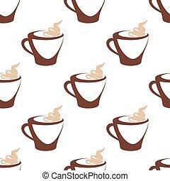 modello, caffè, crema, seamless, tazza