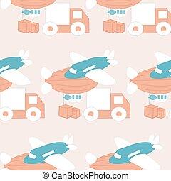 modello, camion, palloni, aeroplano, disegno