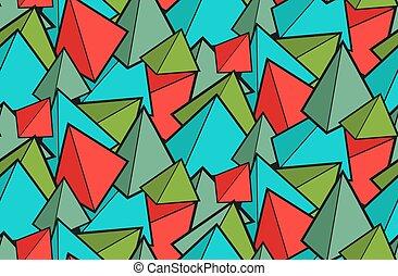 modello, carta da parati, pyramids., prisms., cones., fatto, childrens, variopinto, geometrico, tessuto, verde, seamless, rosso
