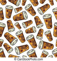 modello, carta, seamless, marrone, campanelle, caffè