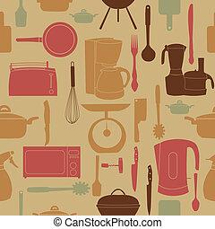 modello, cottura, seamless, illustrazione, vettore, attrezzi, cucina