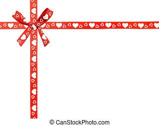 modello cuore, nastro, arco, rosso