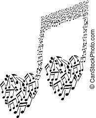 modello cuore, note musicali, forma