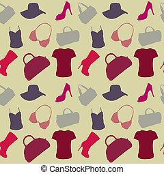 modello, donne, seamless, accessori