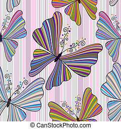 modello, farfalle, strisce, seamless