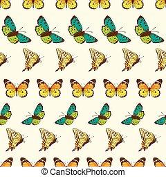 modello, farfalle, vettore, zebrato, seamless