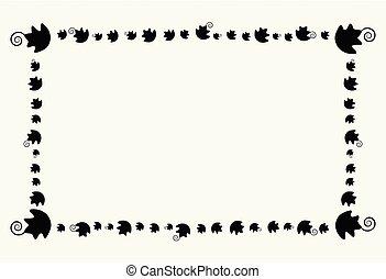 modello foglia, cornice, halloween, isolato, elemento, decorazione, fondo, zucca, bordo, rettangolo, felice