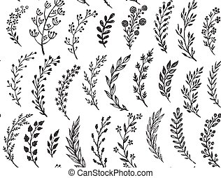 modello, foglie, mano, disegnato, seamless, branches.