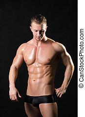 modello, forte, muscled, braccia, maschio