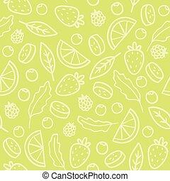 modello, frutte, seamless, verde, scarabocchiare, bacche
