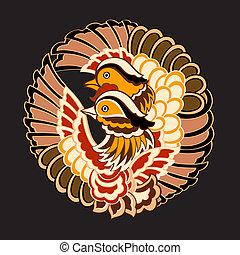 modello, giapponese, uccelli