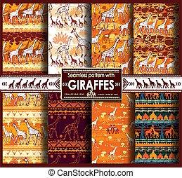 modello, giraffe, seamless, set, stilizzato