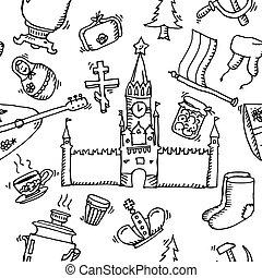 modello, hand-drawn, russia, icone