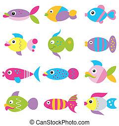 modello, impaurito, fish, colorito, cartone animato