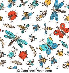 modello, insetti, scarabocchiare, seamless